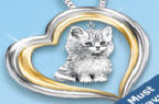Purr-fect Companion Heart Shaped Keepsake Cat Pendant Necklace - Exclusive Sterling Silver Cat Pendant Necklace is the Perfect Cat Lover Gift! 24K Gold Accents, Engraved Message, FREE Chain!