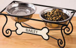 Wrought-Iron personalized Stand with 2 Pet Bowls