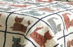 Cat linen Print Quilt-Full/Queen