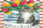 Tulips with Cat House Flag 28x40